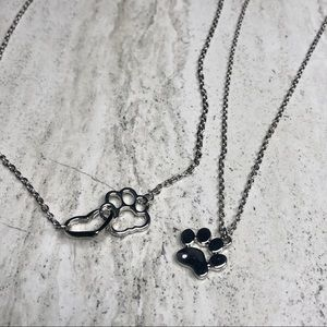 Set of Two Paw Print Necklaces Silver